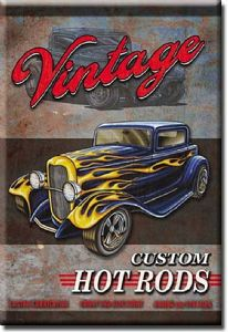 Vintage Custom Hot Rods fridge magnet    (de)